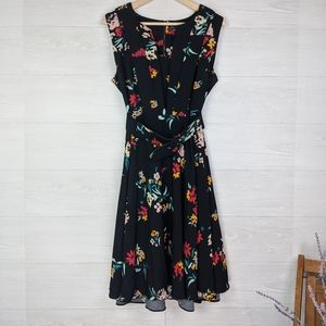 City Chic Black Floral Belted Midi Fit Flare Dress